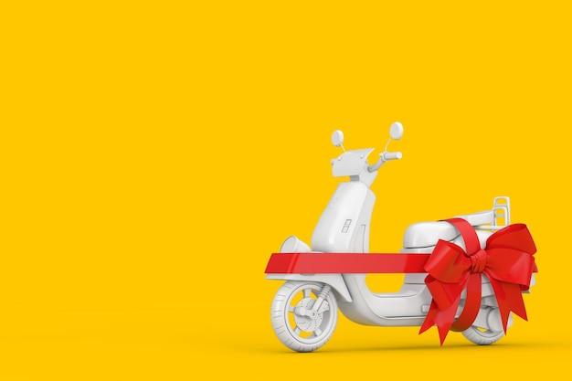 Biały klasyczny vintage retro lub skuter elektryczny w stylu gliny z czerwoną wstążką jako prezent na żółtym tle. renderowanie 3d