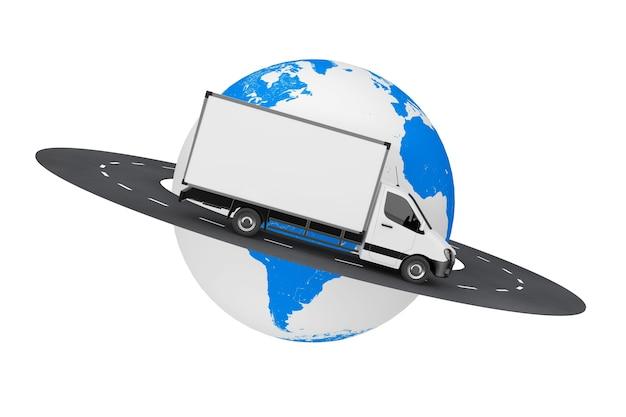 Biały komercyjnych dostaw przemysłowych ładunków van ciężarówka nad drogą wokół kuli ziemskiej na białym tle. renderowanie 3d