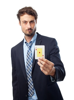 Biały krawat kariera kierownik hazardu
