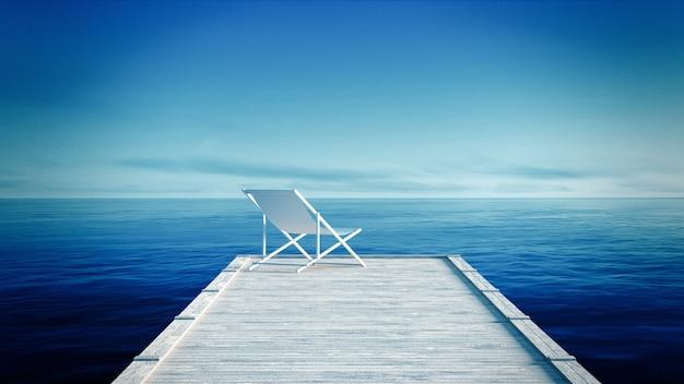 Biały lounger & drewniany molo na tropikalnej plaży z błękitnym morzem i niebem