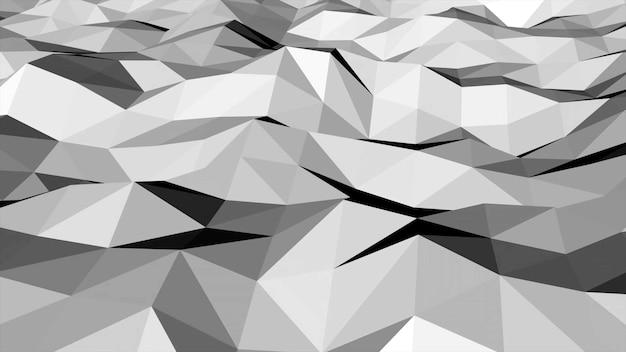 Biały low poly streszczenie tło, geometryczny kształt trójkątów. elegancki i luksusowy dynamiczny styl dla biznesu, ilustracja 3d
