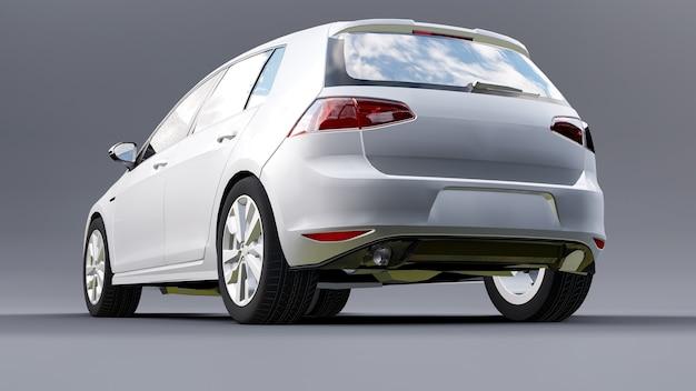 Biały mały samochód rodzinny hatchback na szarym tle. renderowania 3d.