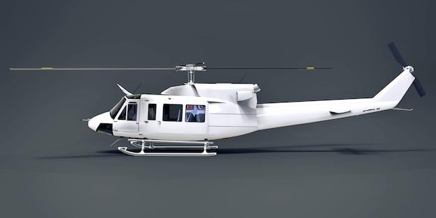 Biały mały wojskowy helikopter transportowy na szarym tle na białym tle. ratownicza helikopter. taksówka powietrzna. helikopter dla policji, straży pożarnej, pogotowia ratunkowego i ratownictwa. 3d ilustracji.
