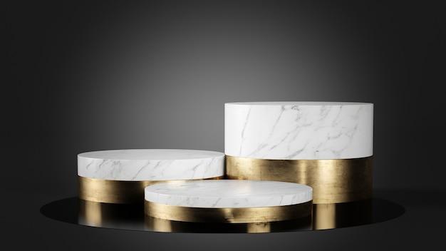 Biały marmur i złoty podium na czarnym tle renderowania 3d