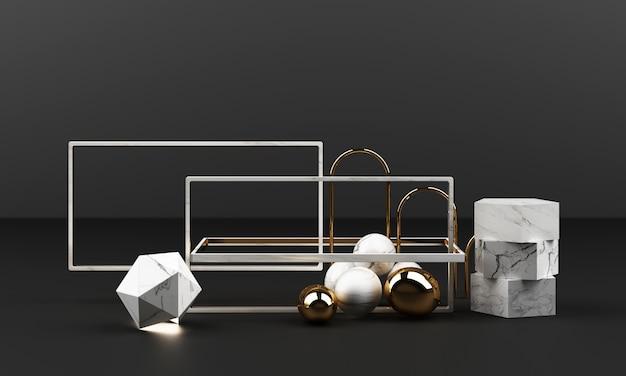 Biały marmur tekstura geometryczny kształt i złoto ze stali nierdzewnej z zestawem obiektów szklanych renderowania 3d streszczenie sceny puste podium