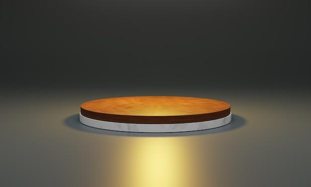 Biały marmur z drewnianym blatem. scena dla nowego produktu, minimalne podium projektowe, stojak na produkty, prezentacja, ilustracja 3d