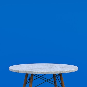 Biały marmurowy stół lub stojak na produkty do wyświetlania produktu na niebieskim tle