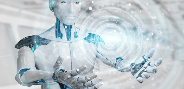 Biały męski humanoid wykorzystujący cyfrową globalną sieć