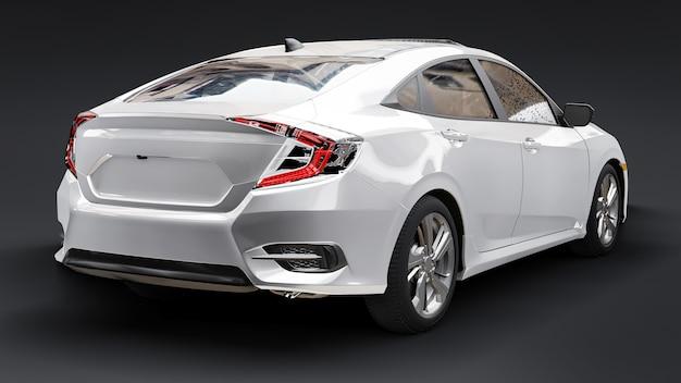 Biały miejski rodzinny sedan średniej wielkości na czarnym jednolitym tle. renderowania 3d.