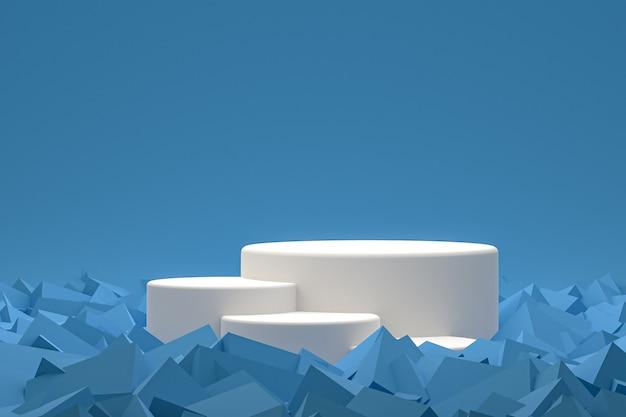 Biały minimalny wyświetlacz na podium lub cokole na abstrakcyjnym niebieskim tle do prezentacji produktów kosmetycznych