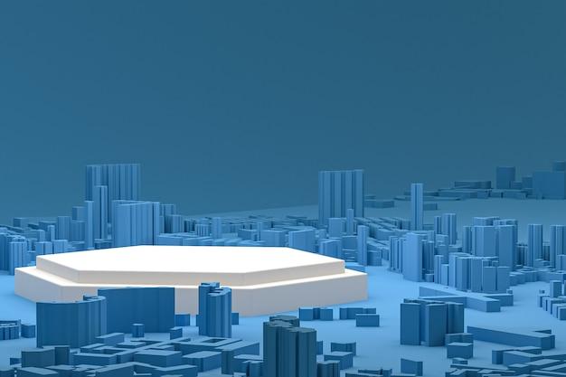 Biały minimalny wyświetlacz na podium lub cokole na niebieskim tle mapy budynków miasta renderowania 3d do prezentacji produktów kosmetycznych