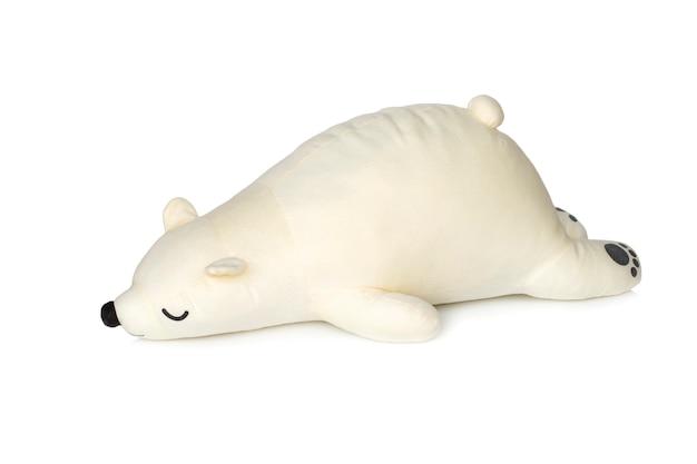 Biały miś śpi na białym tle