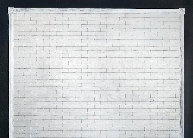 Biały mur z cegły otoczony przez bagietkę bezszwowe tło i teksturę obwód czarnej ściany