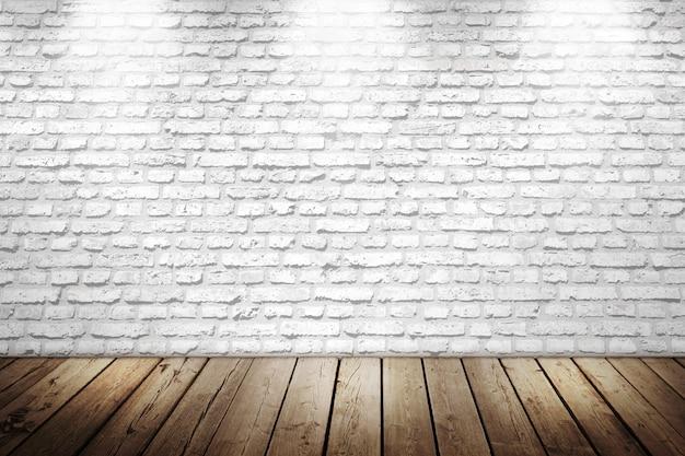 Biały mur z cegły z drewnianą podłogą