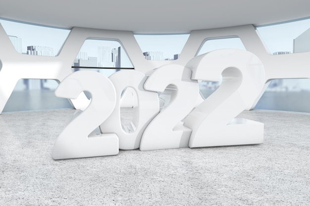 Biały nowy rok 2022 zarejestruj się w pokoju konferencyjnym streszczenie jasne biuro ekstremalne zbliżenie. renderowanie 3d