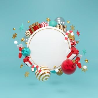 Biały okrągły wieniec z ozdobami bożonarodzeniowymi i noworocznymi. złota fantazyjna piłka, gwiazda renderowania 3d.