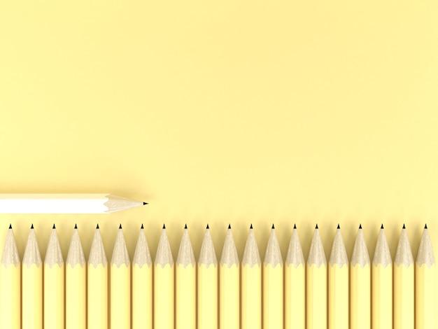 Biały ołówek inny na żółtym pastelowym tle kontrast kreatywny