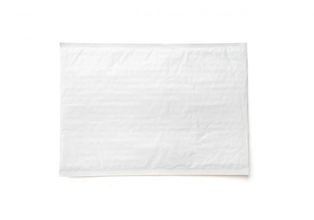 Biały pakiet pocztowy. tło obiektu z tworzywa sztucznego paczek.
