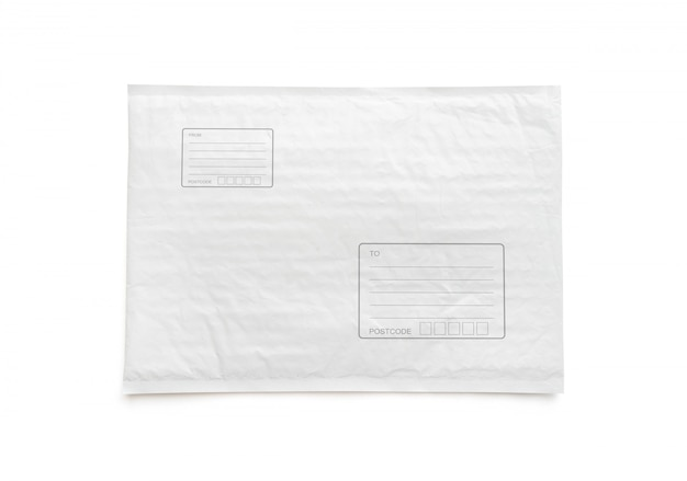 Biały pakiet pocztowy z obszarem do wpisania adresu.