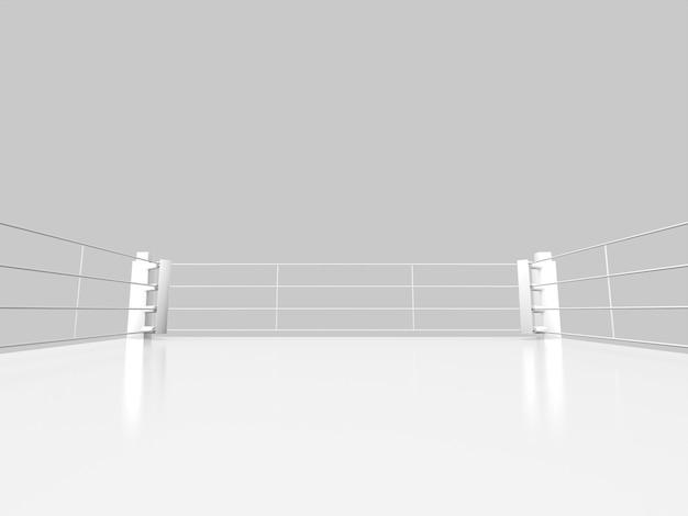 Biały pierścień bokserski izoluje obiekt. renderowanie 3d.