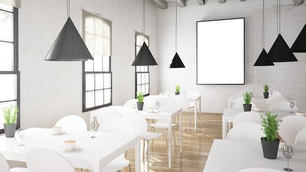 Biały plakat w kawiarni