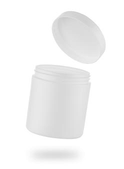 Biały plastikowy słoik lub pudełko z otwartą pokrywką