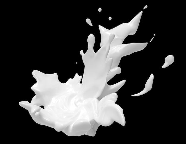 Biały płynny strumień wirujący i rozpryskujący jogurt lub mleko do projektowania wykorzystuje reklamę produktu