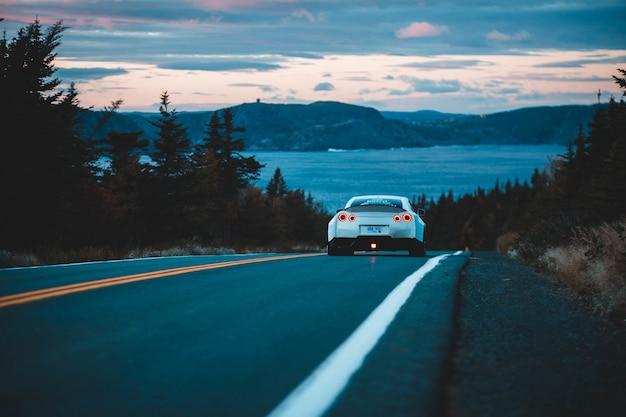 Biały pojazd na drodze w pobliżu zielonych drzew