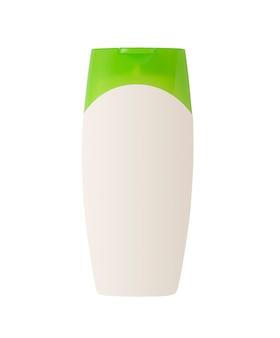 Biały pojemnik kosmetyczny z zieloną nakrętką na białym tle makieta butelki do pielęgnacji włosów lub twarzy