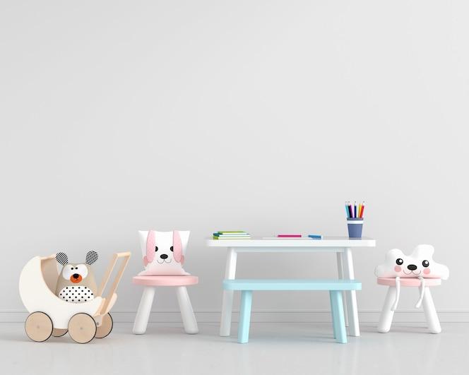 Biały pokój dziecięcy z krzesłami i stołem