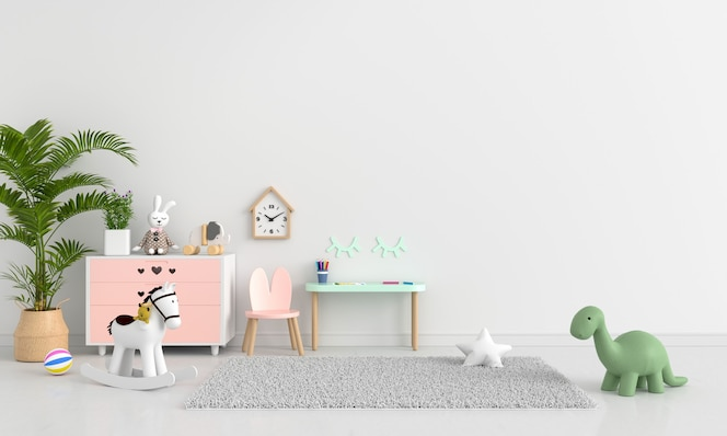 Biały pokój dziecięcy z miejscem na kopię