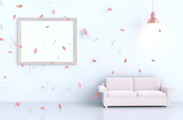 Biały pokój dzienny z ramką na zdjęcia, dmuchać różowe liście