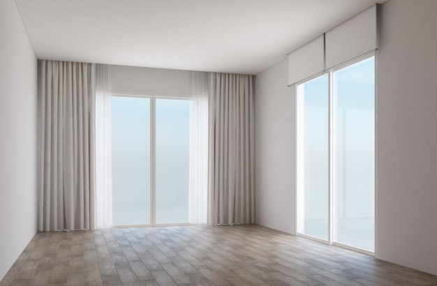 Biały pokój z drewnianą podłogą i przesuwanymi drzwiami z zasłonami