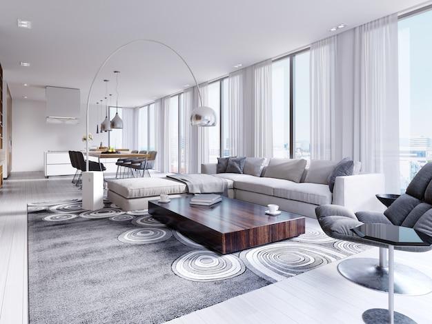 Biały przestronny w pełni umeblowany salon z drewnianym stołem i narożną sofą