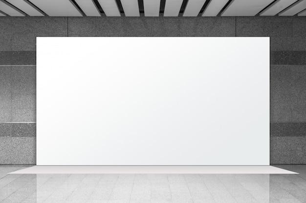 Biały pusty billboard reklamowy w podziemnym pociągu, duża reklama lcd