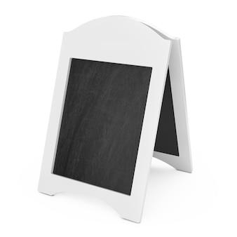Biały pusty drewniany menu tablica odkryty wyświetlacz na białym tle. renderowanie 3d