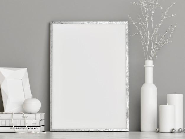 Biały pusty plakat z dekoracją