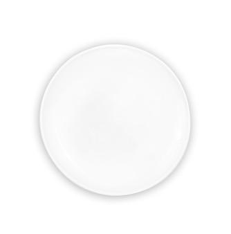 Biały pusty talerz na białym tle.