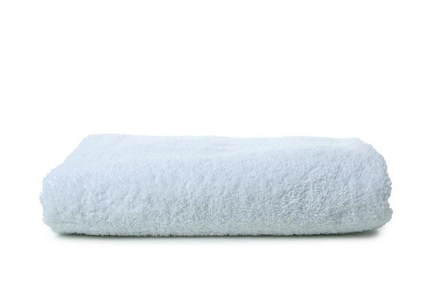 Biały ręcznik składany na białym tle