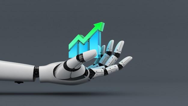 Biały robot trzyma ikonę wykresu, aby zwiększyć wykres, asystent technologii dla przemysłu