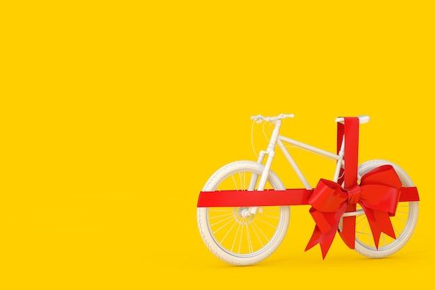 Biały rower górski w glinianym stylu z czerwoną wstążką jako prezent na żółtym tle. renderowanie 3d