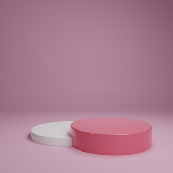 Biały różowy pastelowy produkt stojak na tle. koncepcja streszczenie minimalnej geometrii. motyw platformy studio podium. faza prezentacji marketingowej targów biznesowych. 3d ilustracja odpłaca się graficznego projekt
