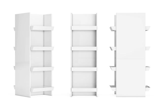Biały rynek regały półki przedstawiające produkty na białym tle. renderowanie 3d