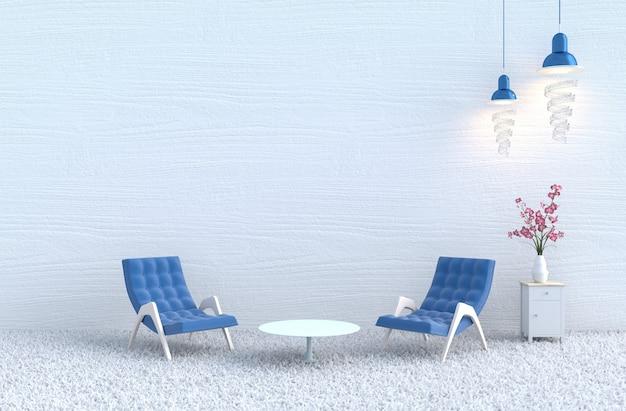 Biały salon, niebieskie krzesło, orchidea, biała ściana z drewna, dywan. boże narodzenie, nowy rok.