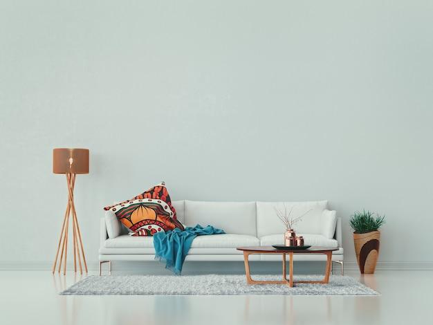 Biały salon, sofa, stolik kawowy, wazon i lampa.