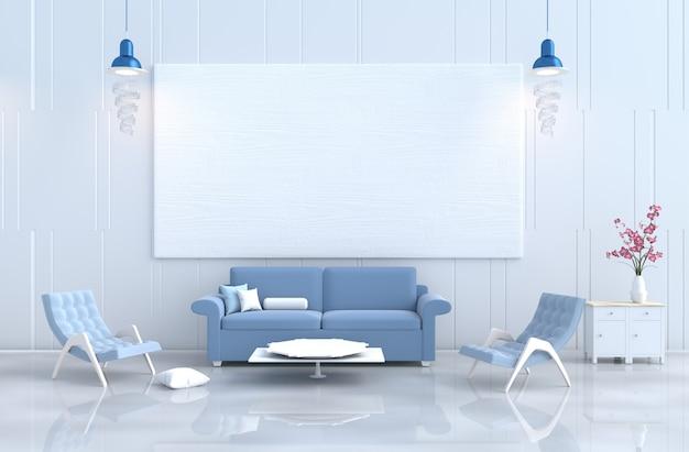 Biały salon wystrój fotel, sofa, ściany z drewna, orchidea. boże narodzenie, nowy rok. 3d r