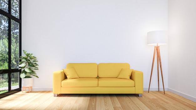 Biały salon z dużym oknem i żółtą sofą