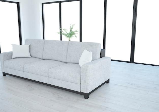 Biały salon z kanapą i panoramicznymi oknami