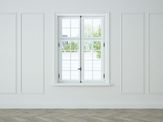 Biały salon z oknem vintage