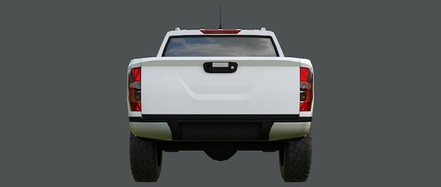 Biały samochód dostawczy z podwójną kabiną. maszyna bez insygniów z czystym, pustym korpusem do umieszczenia logo i etykiet. renderowanie 3d.
